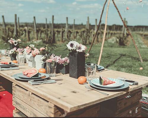 mariage hippie chic, bohème au milieu des vignes